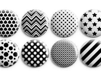 8 minimalist fridge magnets, minimalist buttons, minimalist pattern, gift for him, gift for dad, gift for coworker