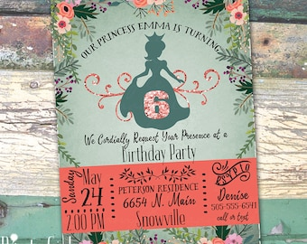 Princess Personalized Birthday  Printable Invitation Print at Home Mint Coral Teal