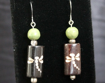 Wooden Dragonfly and Green Bead Earrings