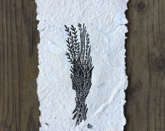 Herb Bundle on hand made paper
