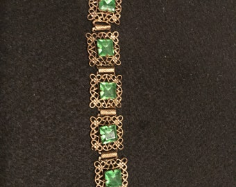 Vintage Bracelet With Green Glass Stones From Czechoslovakia