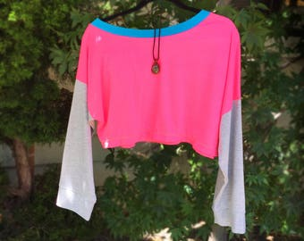 Neon Pink Slouchy Off Shoulder Pull Over Knit
