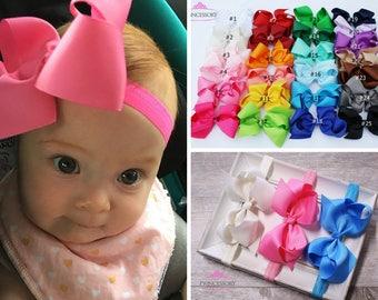 Baby Headband Bows Baby Girl headband hair bows Baby Bows hair bows for babies 4 inch bows baby hair bows baby headband set