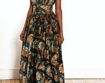 African Print Multicolor Dress Maxi Dress