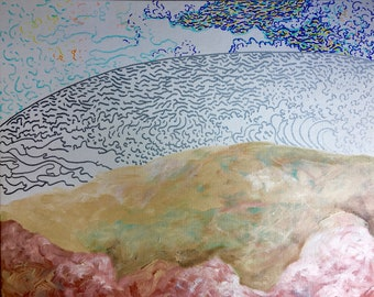 "Atlantic/Pacific Ocean + Landscape (Mixed Media Painting on 16x20"" Canvas Board)"
