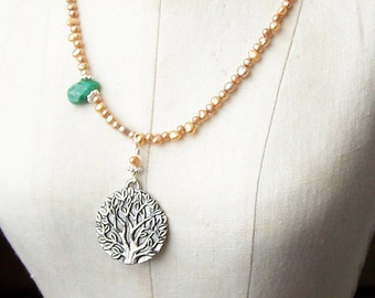 50% OFF Freshwater Pearl Necklace, Champagne Freshwater Pearls, Tree of Life, Etsy, Etsy Jewelry, Beaded Necklace, Russian Amazonite