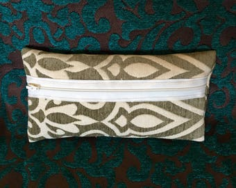 Small Olive Green and Beige Pattern Cosmetic Bag