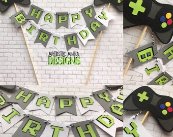 Game Controller Cake Bunting Topper Personalized -Gamer Birthday Party Baby Shower - Video Game Decorations