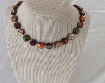 12mm Swarovski crystal necklace -BROWN, green, orange necklace- fall necklace- choker- supporting cancer awareness- bracelet and earrings
