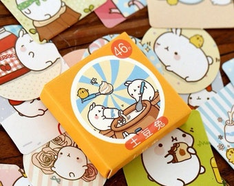 46 kawaii cartoon Japanese molang stickers for scrapbooking
