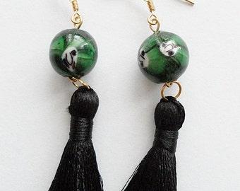 Lady in Black Tassel Earrings