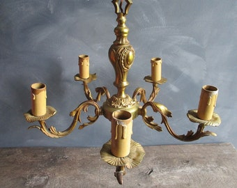 Shabby Chic Light Fitting.French Chandelier.Shabby Chic Light.Gilt Brass  Chandelier.