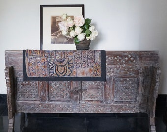 Tribal Damchiya Console Carved Antique Console Cabinet