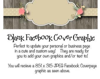 Rustic Facebook Timeline Cover Graphic Instant Download, DIY Facebook Template