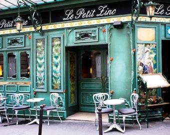 Ready to ship, le petit zinc, St Germain des Pres, Paris Photography, Paris cafe in green, Restaurant in Paris, Paris Home Decor