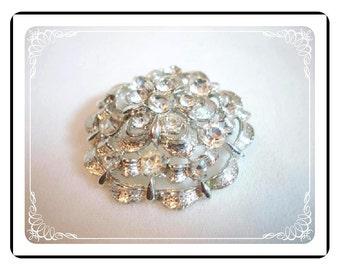 Vintage Rhinestone Brooch - Silvertone & Clear Rhinestones  Scalloped Domed Flower Pin-1108a-022312000