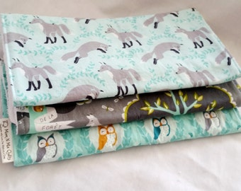 Baby Burp Cloth Gift Set Neutral - Les Amis Trio with Foxes and Owls - Neutral Burp Pad Gift Set