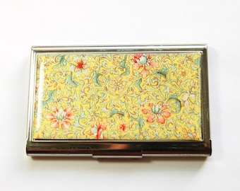 Flower card case, Floral case, Business Card Case, Yellow Floral case, Card case, business card holder, Yellow card case (3196)