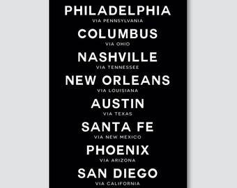 Custom Subway Sign, Street Names, Subway Sign, Favorite Cities Places, Custom Subway Wall Art, Travel Gift