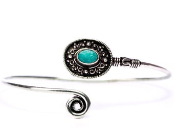 Boho Tribal Bangle Turquoise Gemstone Bracelet Adjustable Gift Boxed + Giftbag + Free UK Delivery WBB3