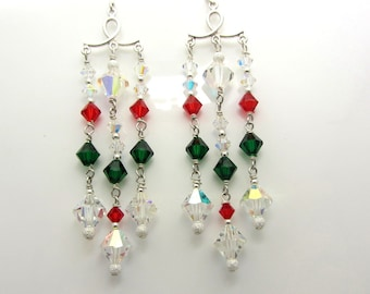 Red and Green Crystal Chandelier Earrings Christmas Earrings Swarovski and Sterling Silver Dangle Earrings SRAJD USA Handmade