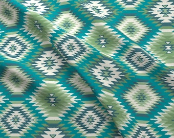 Tribal Geometric Fabric - Navajo Dreams - Turquoise Green By Bohemiangypsyjane- Southwestern Boho Cotton Fabric By The Yard With Spoonflower