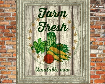 Printable Vintage Country Farm Vegetable  Wall Art