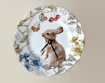 9 Inch Silent Bunny Rabbit Wall Clock, Porcelain Plate Clock, Unique Wall Decor, Kitchen Clock, Spring Wall Clock, Nursery Clock  2489