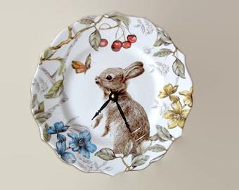 9 Inch Silent Bunny Rabbit Wall Clock, Porcelain Plate Clock, Unique Wall Decor, Kitchen Clock, Spring Wall Clock, Nursery Clock  2529