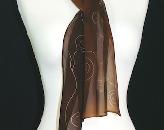 Brown Silk Scarf. Chocolate Hand Painted Shawl. Handmade Chiffon Silk Scarf MOCHA SWIRLS Size 8x54. Birthday, Bridesmaid Gift. Gift Wrapped.