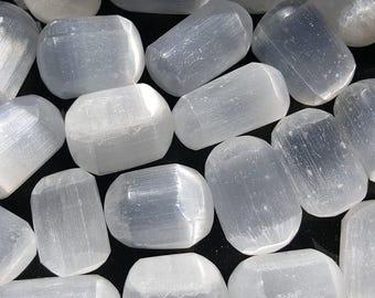 Selenite Tumbled Stone, One Selenite Stone, Selenite Pocket Stone, Tumbled Selenite