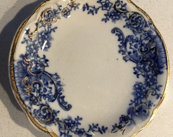 Vintage Flow Blue Butter Pat with Gold Trim - Knowles-Taylor-Ohio