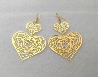 Double Heart Earrings, Gold Heart Drop Earrings, Bohemian Jewelry, Festival Earrings, Gold Filigree Earrings, Gift for Mom, Birthday Gift
