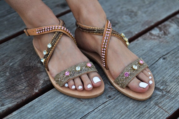 handmade sandals sandals sandals Gladiator bronze Greek gladiator sandals