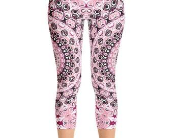 Printed Capri Leggings Pants, Mid Rise Yoga Leggings, Mandala Leggings in Pink and Black, Yoga Pants Women's Clothing