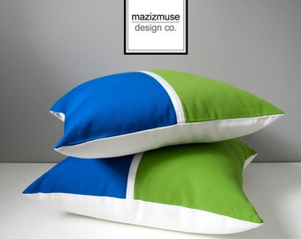 SALE - TWO Lime Green & Cobalt Blue Sunbrella Outdoor Pillow Covers, Decorative Color Block Pillow Cover, Pacific Sunbrella Cushion Cover