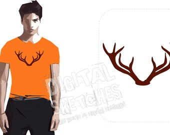 Deer Head Antlers Machine Embroidery Design Christmas 4 Sizes