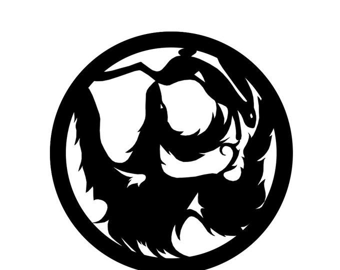 Afghan hound circle with rabbit, LeChienArtistiQ