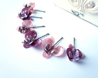 Pink OR Mauve Purple Orchid Hair Pin Set, Glitter Orchid Flowers for Hair
