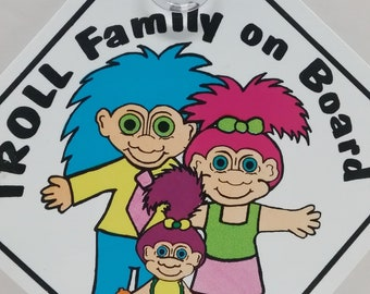 TROLL Doll Window Sign, Troll Family on Board