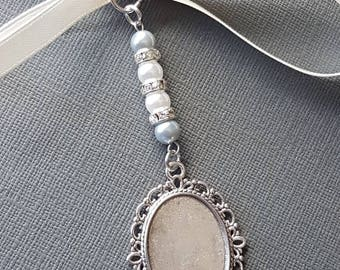 Wedding Bouquet Photo Charm Bouquet locket Photo Frame Oval Silver Locket Pendant 2 silver pearls, 2 ivory pearls and Gift Bag