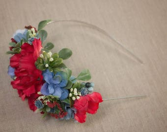 Patriotic Flower Hard Headband - Red White & Blue with Greenery - m2m Well Dressed Wolf - July Fourth - Memorial - Military - America