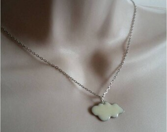 Necklace white cloud and silver chain