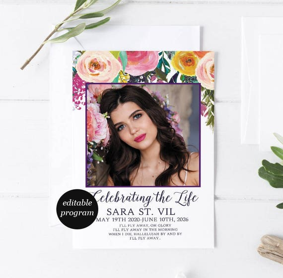 Floral Bohemian Funeral Program Template Obituary Template