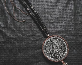Maya Mala Calendar - Chrysocolla - Black Rudrashka - Ethnic - Boho - Shaman - Jungle - Spirit - Travel - Gypsy - Wanderer - Heritage - Gems