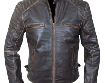 The Kay's Leather Men's 2018 Motorcycle Vintage CowHide Biker Casual Fashion Genuine Leather Jacket.