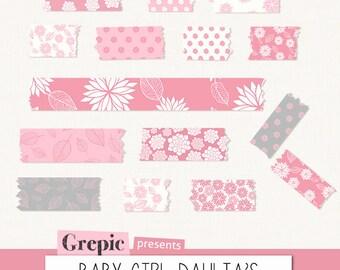 "Digital Washi Tape: ""BABY GIRL DAHLIAS"" washi tape clipart, digital scrapbook kit, baby girl, newborn, pink, floral, washi tape digital"