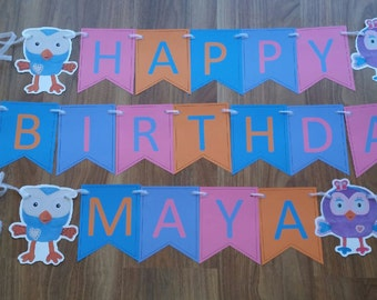 Hoot/Hootabelle  Happy Birthday Personalized Name & Number 1st Birthday Custom made Smash Cake Photo Shoot Birthday Decor Wall Bunting set