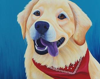 24x30 Custom Pet Portrait, Custom Dog Portrait, Commissioned Pet Art Acrylic Painting Dog memorial Custom Dog Painting, Pet Memorial Art
