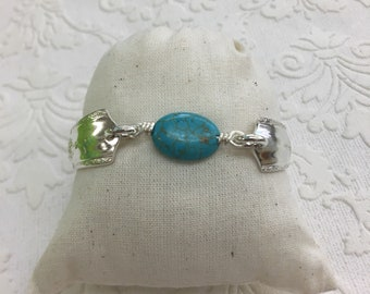 Turquoise stone spoon handle bracelet